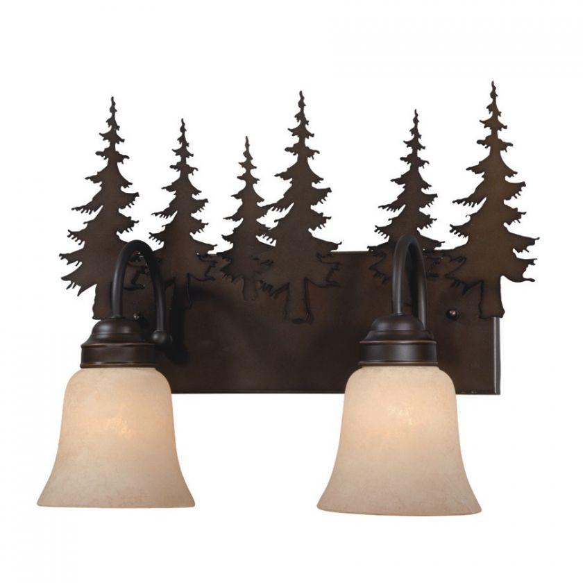 NEW 2 Light Rustic Tree Bathroom Vanity Lighting Fixture Burnished
