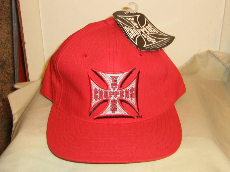 WEST COAST CHOPPER JESSE JAMES IRON CROSS RED HAT CAP |