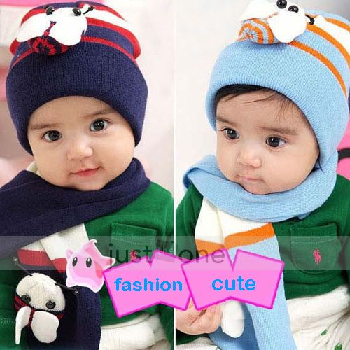 Sweet Lovely Bee Baby Toddler Boy Girl Kids Warm Hat Beanie Cap +Scarf