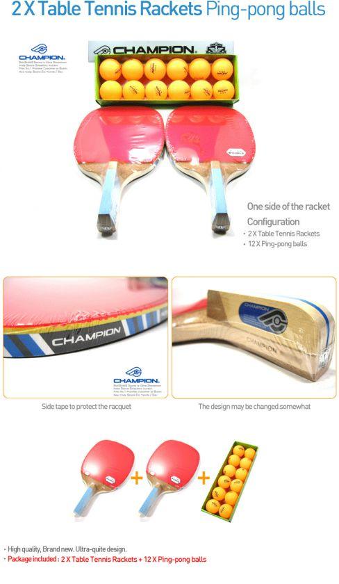 Table Tennis Rackets 12 X Ping pong balls Paddles