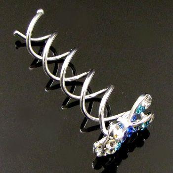 Item  1 pc rhinestone crystal bow tie hair twist pin fork