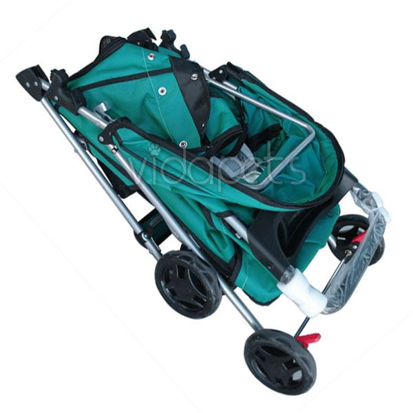 Green 4 Wheels Pet Dog Cat Stroller HEAVY DUTY
